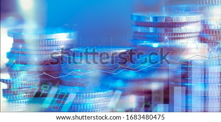 Financial investment concept, Double exposure of city night and stack of coins for finance investor, Forex trading candlestick chart, Cryptocurrency of Digital economy. background for invest , stock  #1683480475