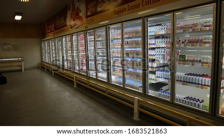Yogyakarta, Indonesia. March 26, 2020. Dairy products for sell inside cold storage at modern market. #1683521863