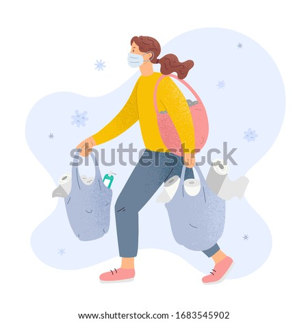 Woman shopping toilet paper wearing medical mask surrounded by coronavirus, concept of panic shopping during worldwide pandemic of covid-19, female character with bags full of tissues and sanitizers. #1683545902