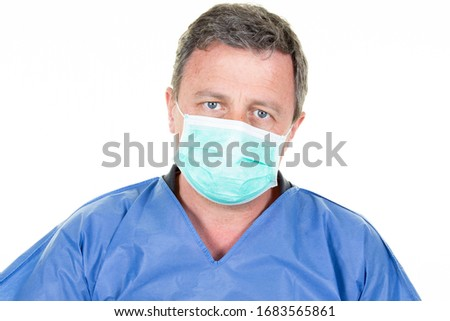 Portrait of male nurse man wearing medical mask blue white background protective health Coronavirus concept covid-19 #1683565861