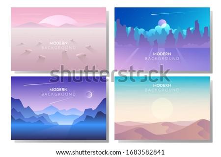 Vector banners set with polygonal landscape illustration - flat design #1683582841