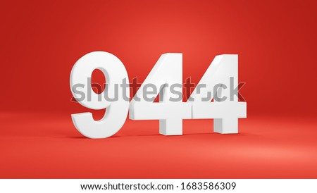 Number 944 in white on red background, isolated number 3d render #1683586309