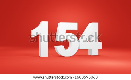 Number 154 in white on red background, isolated number 3d render #1683595063
