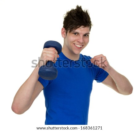 A happy man using a dumbbell. #168361271