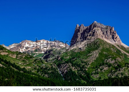 Summer image of Mont Thabor (3178 m) and Le Grand Seru(2889m) located in Etroite Valley in Hautes-Alpes, France. #1683735031
