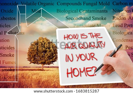 HOW IS THE AIR QUALITY IN YOUR HOME? - concept image with the most common dangerous domestic pollutants in our homes. Royalty-Free Stock Photo #1683815287