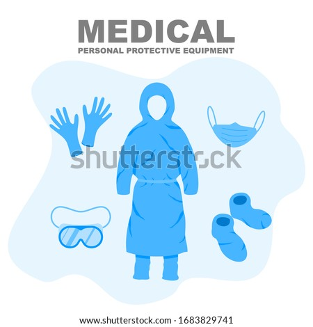 Medical Personal Protective Equipment, medical personnel infection prevention kit vector illustration. #1683829741