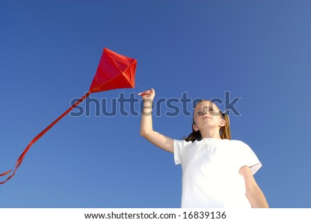 Girl flying a kite in a park with blue sky #16839136