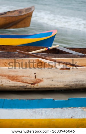 Caiçara canoe, traditional fishing boat from coastal communities in southeastern Brazil - Ubatuba (SP) Brazil Royalty-Free Stock Photo #1683945046