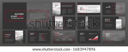 Modern powerpoint presentation templates set. Use for modern keynote presentation background, brochure design, website slider, landing page, annual report, company profile, facebook banner. Royalty-Free Stock Photo #1683947896