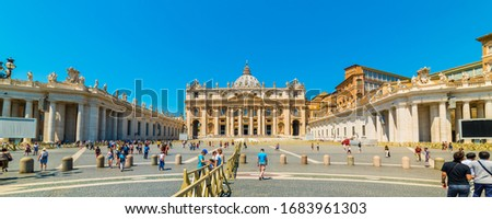VATICAN CITY, ITALY - JULY 1, 2019: St. Peter's Square and St. Peter's Basilica in Vatican City. Rome, Italy.  #1683961303