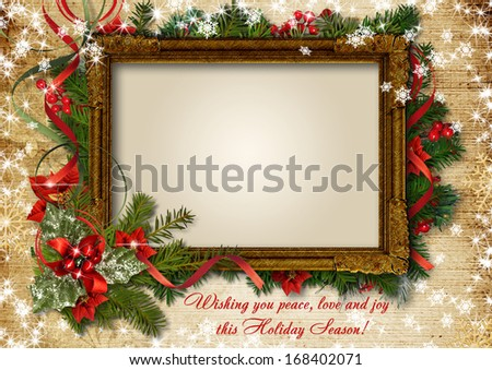 Christmas vintage card with frame for photo or text