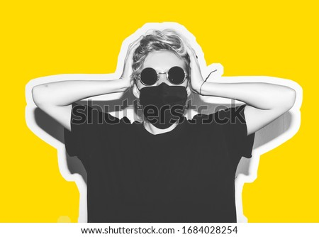Short hair girl in corona virus protective medicine mask and sunglasses saving her from infection holding her head. Colorful collage in magazine style with emotional crazy woman in black t-shirt. Royalty-Free Stock Photo #1684028254