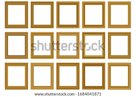 Big set of squared vintage gold frame for your design. Vintage cover. Place for text. Vintage antique beautiful rectangular frames. Template vector illustration. #1684041871