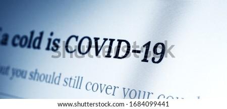Digital Display close up of covid-19 #1684099441