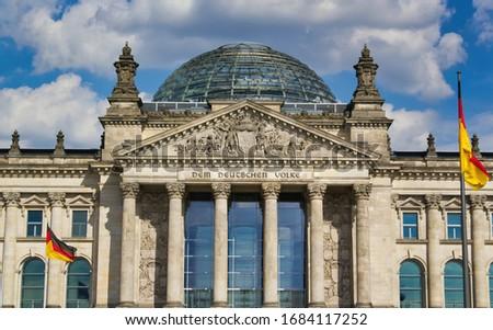 BERLIN, GERMANY - AUGUST 13, 2016:Reichstag building, seat of the German Parliament (Deutscher Bundestag), in Berlin, Germany #1684117252