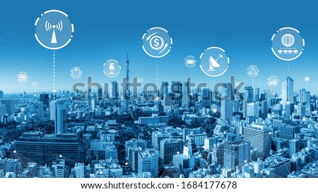 Modern creative telecommunication and internet network connect in smart city. Concept of 5G wireless digital connection and internet of things future. Royalty-Free Stock Photo #1684177678