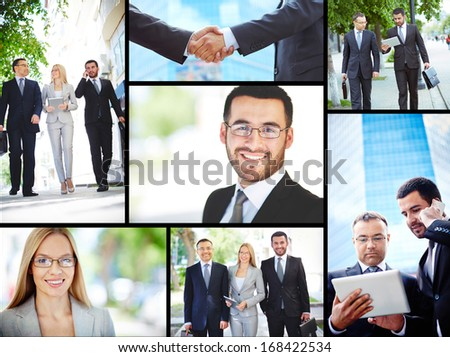 Collage of business professionals working outside #168422534