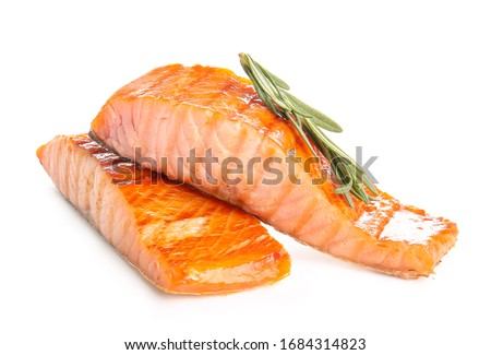 Cooked salmon fillet on white background #1684314823