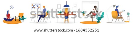 Working at home concept, Coworking space flat illustration. Young people, man and woman freelancers working at their home. Home office in covid-19 crisis. Vector flat style self employed illustration #1684352251