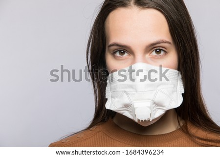 Stop coronavirus infection. The girl in the mask. #1684396234