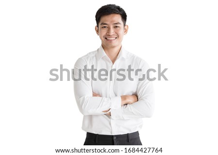 Young, handsome and friendly face man smile, dressed casually with happy and self-confident positive expression with crossed arms on white background studio shot. Concept for good attitude boy. Royalty-Free Stock Photo #1684427764