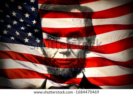 Portrait of President Abraham Lincoln and American flag, 4th of July, Civil War, united states president, history, historical, honest, holidays, famous, slavery, racism, black lives matter, battle Royalty-Free Stock Photo #1684470469