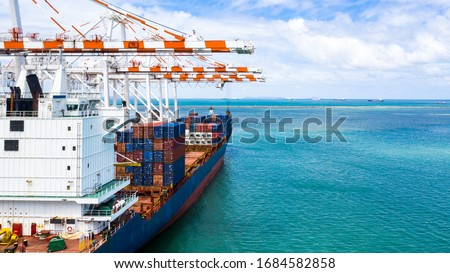 Container cargo ship, Freight shipping maritime vessel, Global business import export commerce trade logistic and transportation worldwide by container cargo ship boat at port terminal with quay crane #1684582858
