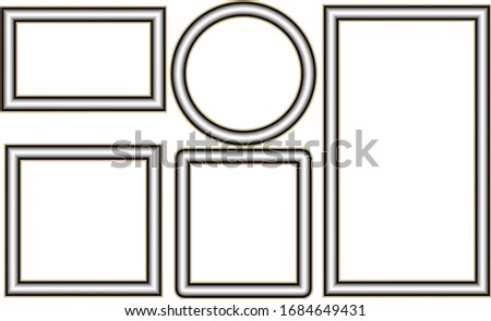 Silver picture frame isolated on white background vector.Luxury frame for a picture.  #1684649431