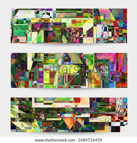 Abstract vector banner template. Small broken pixel distortion glitch art. Matrix geometric pattern. Vibrant colorful digital texture. Computer marketing sale background. Web page frame. #1684716439