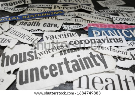 Corona Virus and economy related newspaper headlines  #1684749883