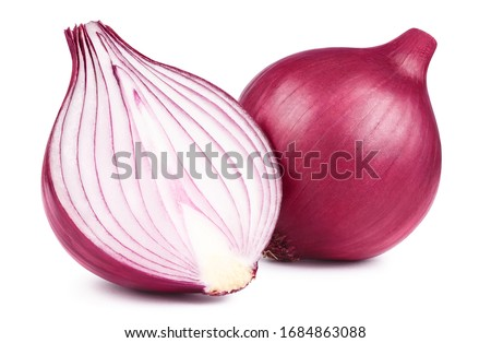 Red whole and sliced onion, isolated on white background Royalty-Free Stock Photo #1684863088