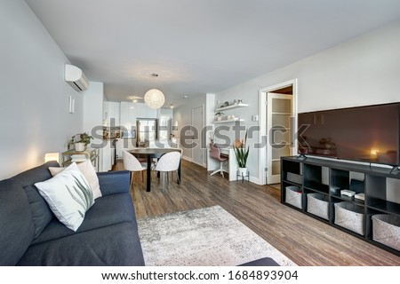 Full set of interior furnished apartment in modern condominium with patio, balcony, terrace in Montreal, Quebec, Canada Royalty-Free Stock Photo #1684893904
