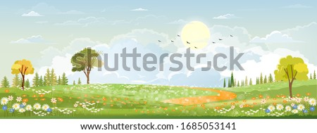 Spring landscape in countryside with green meadow on hills with blue sky, Vector Summer or Spring landscape, Panoramic village with grass field and wildflowers, Holiday natural background Royalty-Free Stock Photo #1685053141