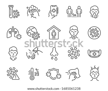 Flu and coronavirus icons set. Collection of linear simple web icons such as hygiene, disinfection, symptoms, treatment, virus, prevention and other. Editable vector stroke. #1685061238