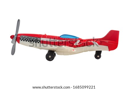 Isolated photo of a race sport airplane toy on white background side view.