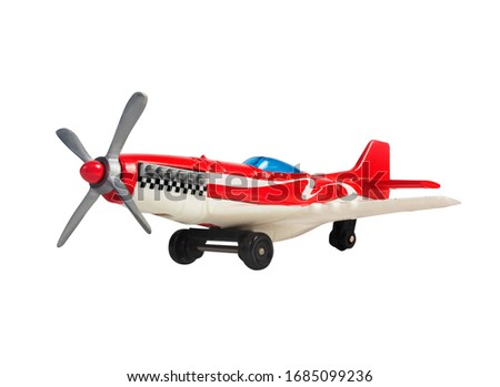 Isolated photo of a race sport airplane toy on white background angle view.