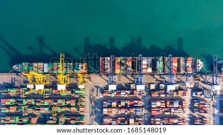 Container cargo ship  global business commercial trade logistic and transportation oversea worldwide by container cargo vessel, Container cargo freight shipping import export company. #1685148019