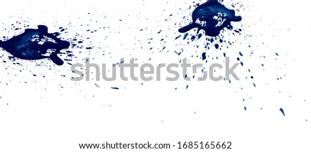 abstract blue ink of stain or splash blue watercolor paint and liquid Ink splash splatter is calligraphy of scatter watermark brush for concept design isolated on white background. soft focus