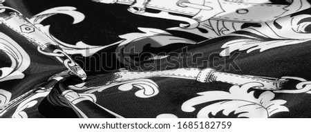 texture, background, black silk fabric with a monogram pattern Exquisite pattern of filigree fabric your design will delight you for a long time #1685182759