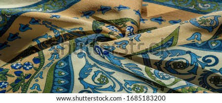 Texture background pattern postcard, silk fabric, moderate calm colors, royal monogram pattern, blue steel green brown colors on fabric. your design will be steeped in the spirit of the Middle Ages #1685183200