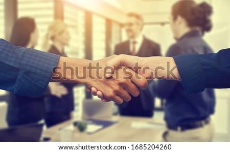 Close up people hands shake business partnership success,Shake hand concept #1685204260
