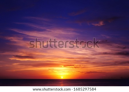 Tropical sea sunset. Sky background