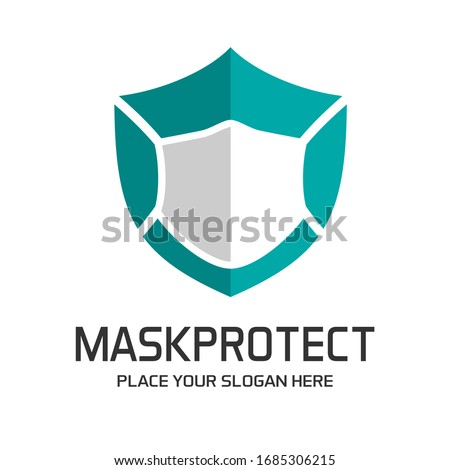 Shield with mask vector logo template. This logo suitable for preventive from virus. #1685306215