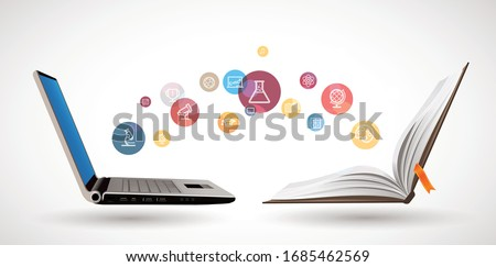 Computer as book knowledge base concept - laptop as elearning idea - stay at home and learn math, biology, history, geography, chemistry, physics, english Royalty-Free Stock Photo #1685462569