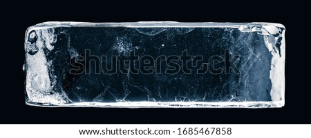 Ice block, on white surface, isolated on black background. Clipping path included. #1685467858
