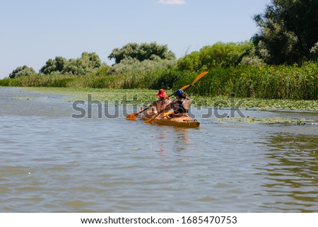 Tourists visiting the Danube Delta delta and its beauty