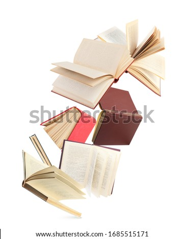 Old hardcover books flying on white background #1685515171