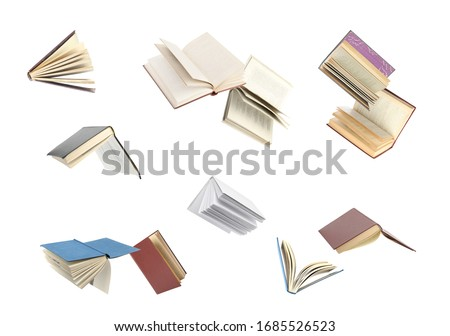 Old hardcover books flying on white background #1685526523