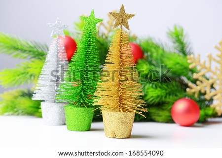 Decorative Christmas trees, fir tree branch, isolated on white #168554090